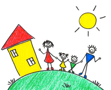 house and family sketch - Sketch Images For Kids