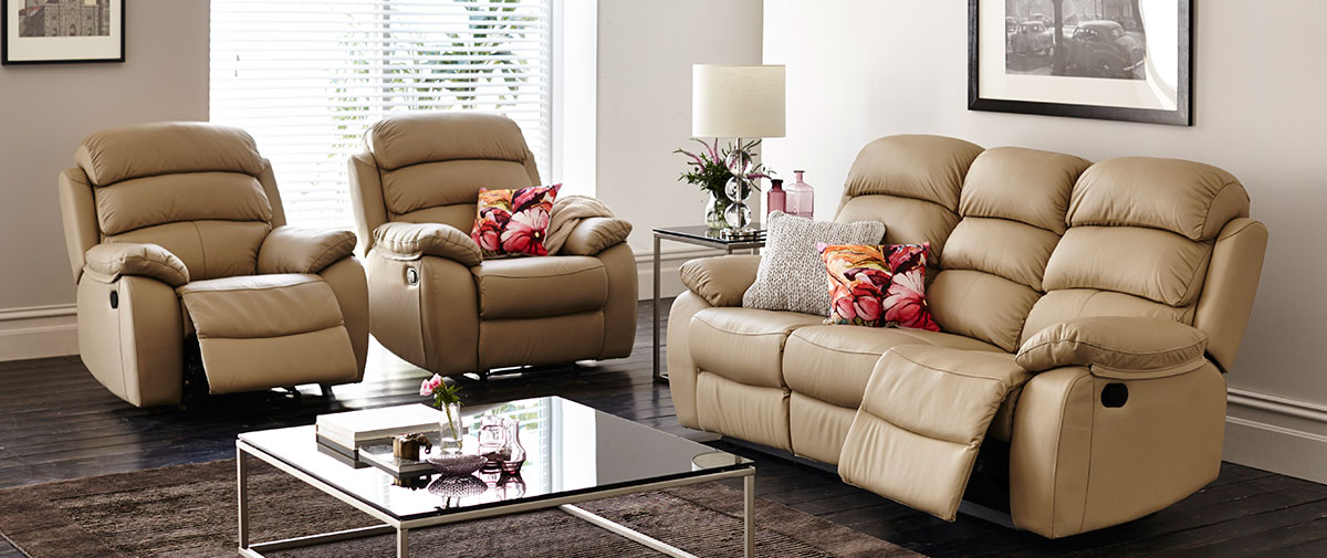 Doncaster Three Piece Reclining Suite in Leather available in Wollongong