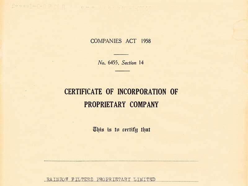 Certificate of Incorporation on 1 October 1959