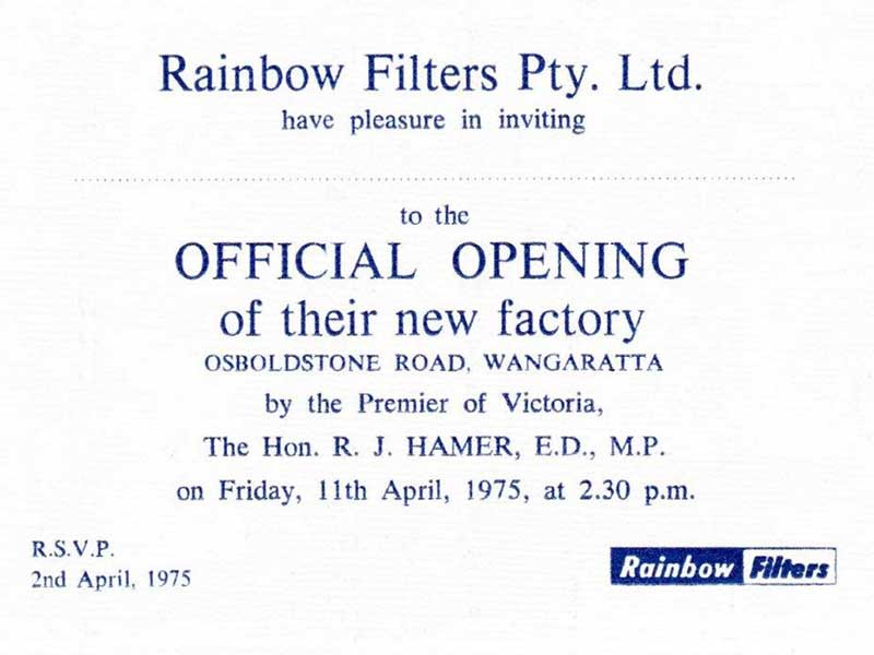 Invitation to the Official Opening of the new factory of Rainbow Filters in Wangaratta