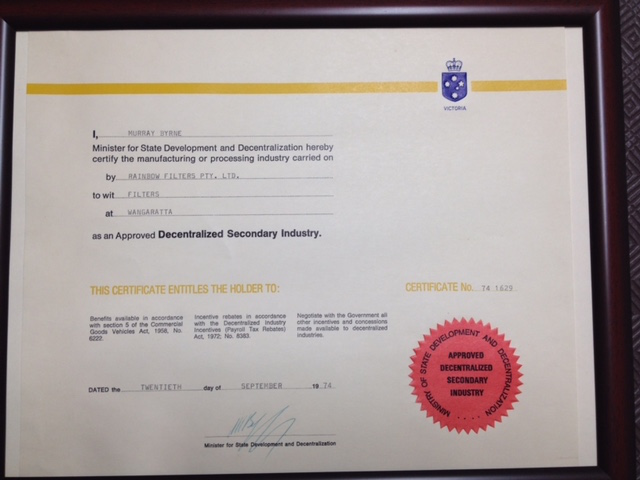 Certificate for an Approved Decentalized Secondary Industry